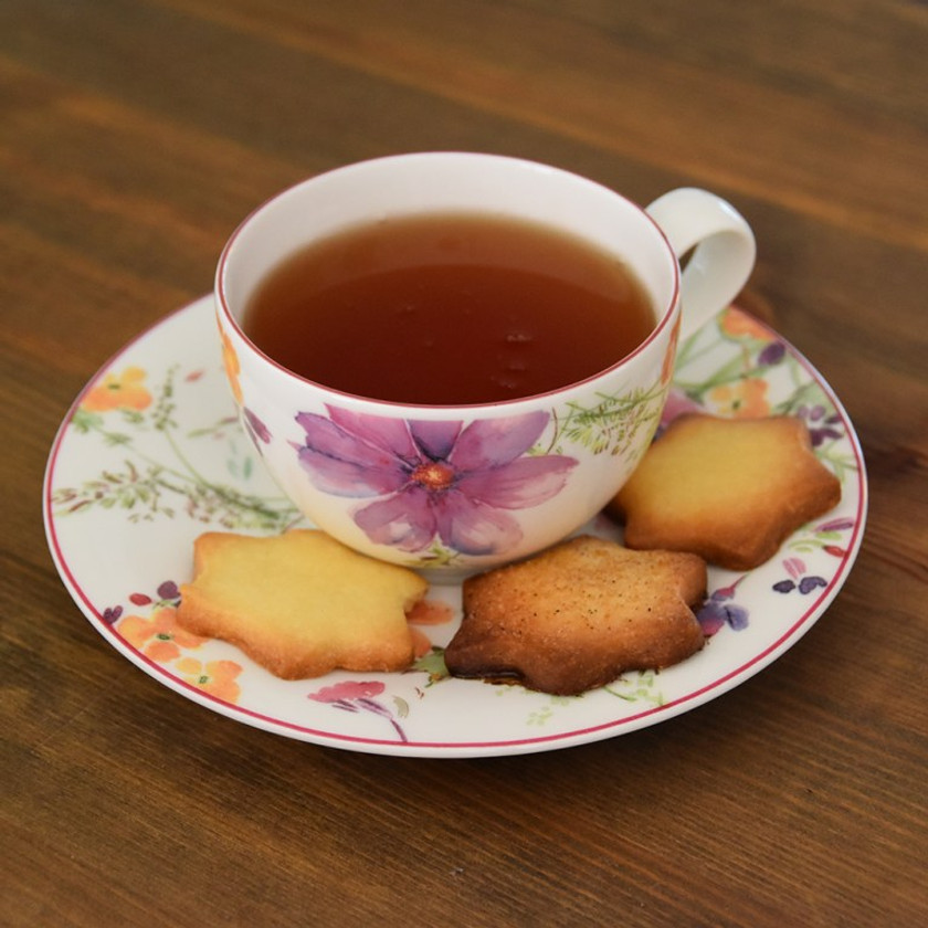 Basic and cinnamon sugar shortbread cookies with some tea.