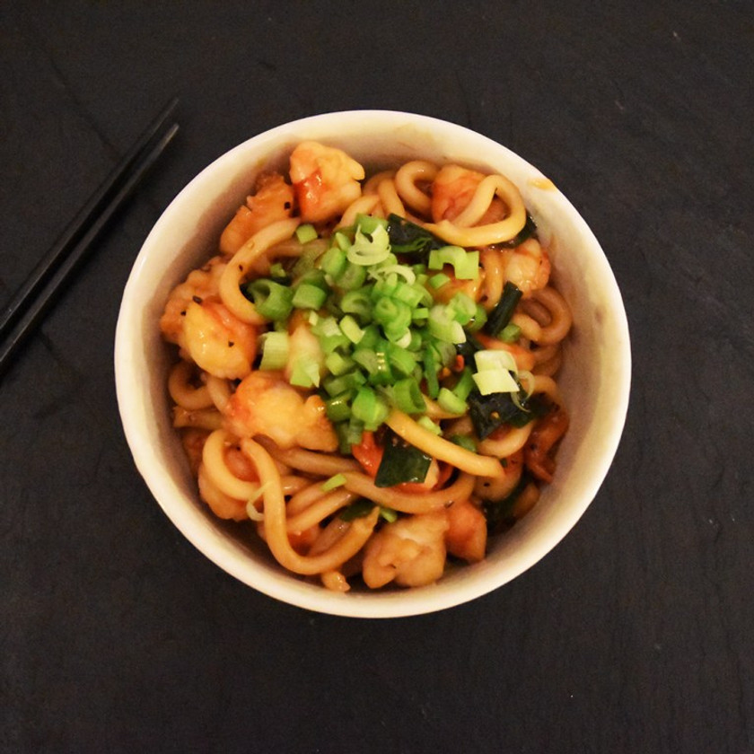 Top view of the Pepper Shrimp Udon bowl