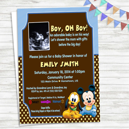 Mickey Pluto Baby Shower Invitation
