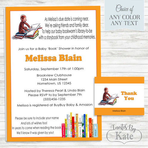 Curious george baby book shower invitation filmwisefo