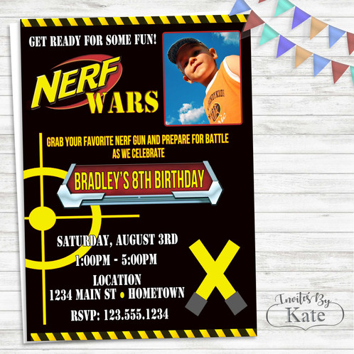 Nerf Wars Birthday Party Invitation