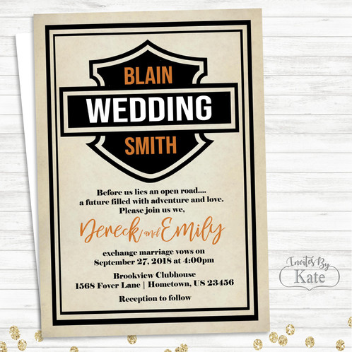 Harley Davidson Biker Motorcycle Wedding Invitations