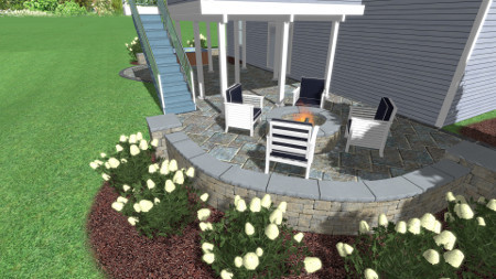 3D Design of New Fire Pit and Sitting Walls