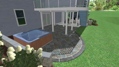3D patio landscape plan in Pittsford
