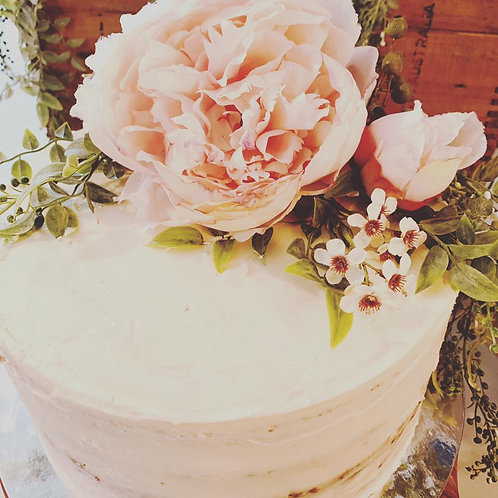 Stack Cake with Buttercream & Artificial Flowers