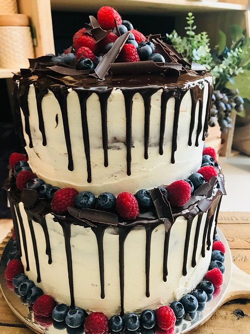 Two Tier Cake with Berries
