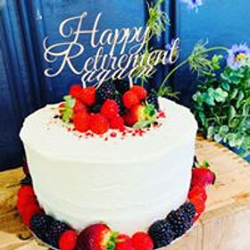 Stacked Cake with Buttercream, Berries & Wooden Topper