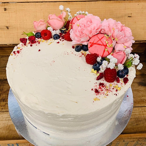 Cake with Edge of Fresh Flowers, Macarons, Berries & Gold Leaf
