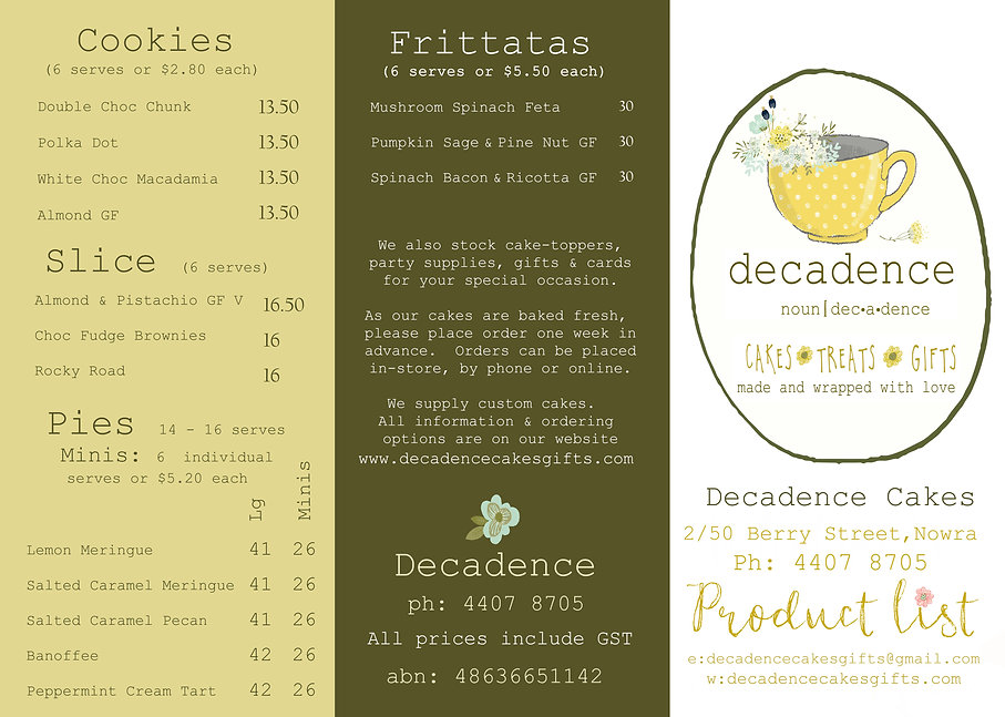 2021 DECADENCE PRODUCT LIST outside flat