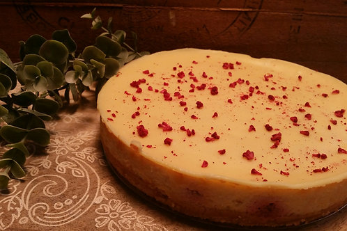 Baked White Choc Raspberry Cheesecake