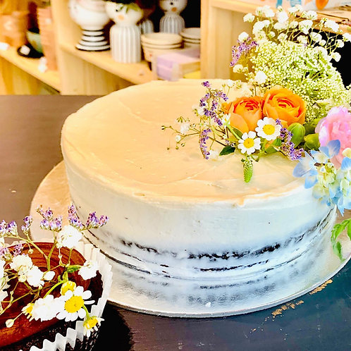 Cake with Buttercream & Fresh Mixed Flowers