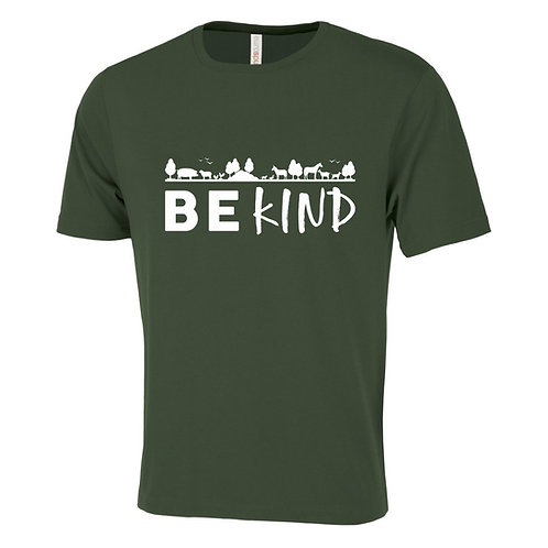"""Men's T-Shirt - """"Be Kind"""" - Forest Heather Green"""