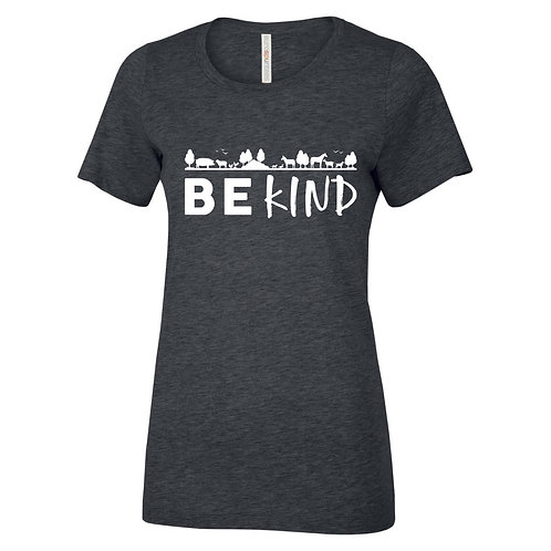 """Ladies T-Shirt """"Be Kind"""" - Charcoal Heather"""