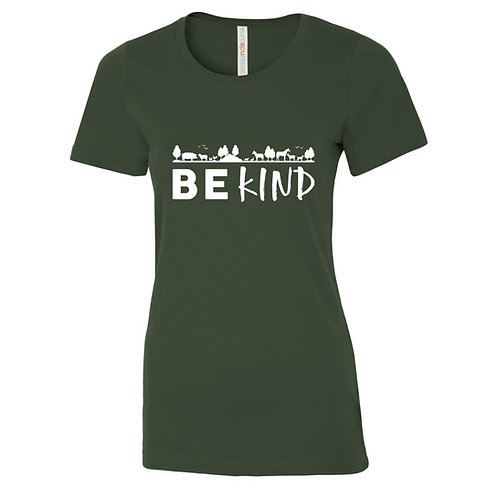 "Ladies T-Shirt ""Be Kind"" - Forest Green"