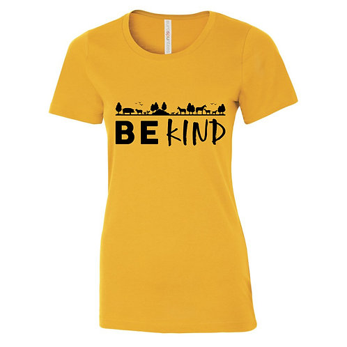 """Ladies T-Shirt """"Be Kind"""" - Gold"""