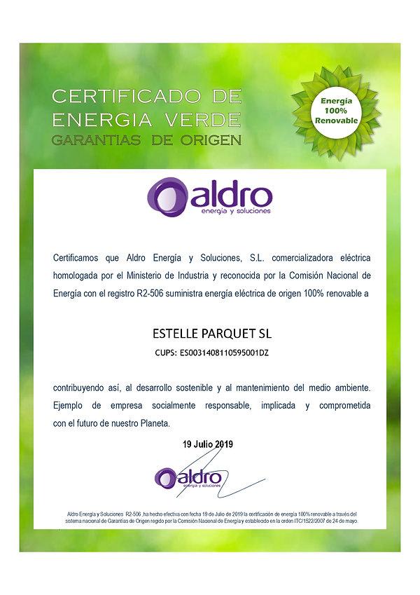 CERTIFICADO ENERGIA VERDE estelle parque