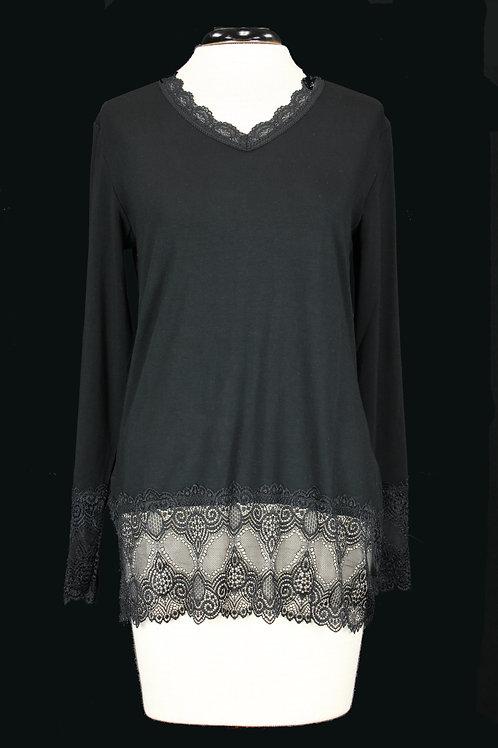 Charlie B Long Sleeve Lace Top-Black