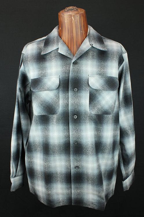 Pendleton Men's Plaid Board Shirt Grey/White Ombre