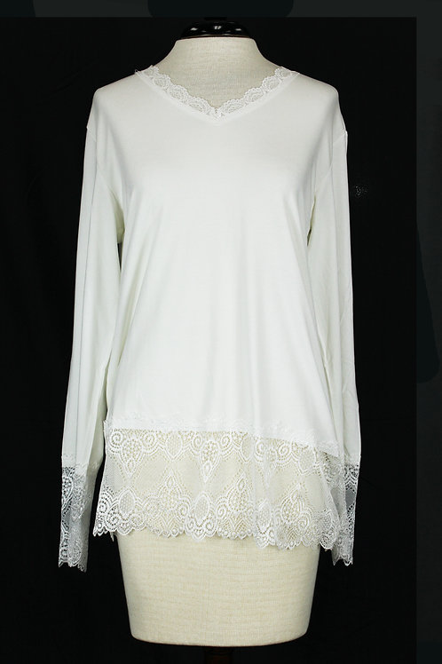 Charlie B Long Sleeve Lace Top-White