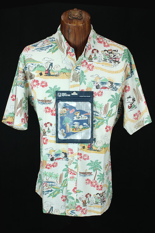 Reyn Spooner Snoopy Shirt with Mask in Pop over style shirt.