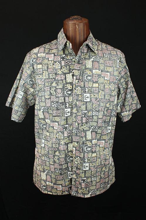 Barefoot Cloth Men's Placket Reverse Shirt Hawaii Blocks