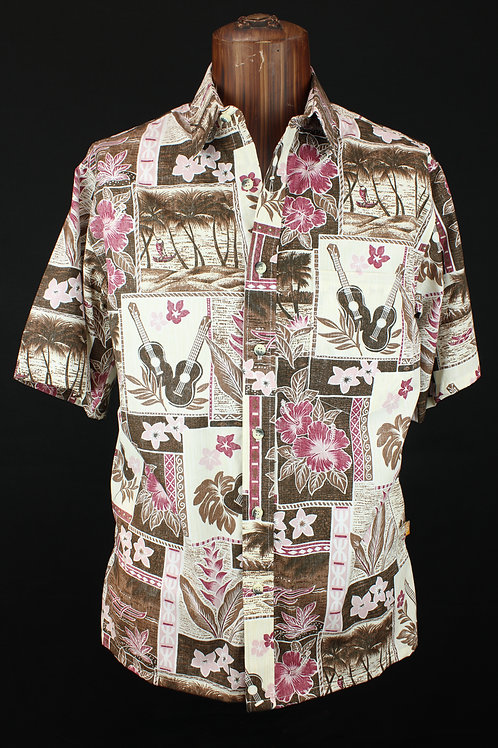 Barefoot Cloth Men's Placket Reverse Shirt Ukulele Blocks