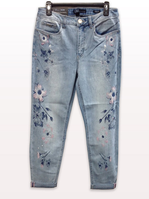 FDJ Faded Denim Jeans with Flowers