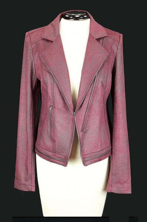Charlie B Faux Leather Jacket Burgundy color