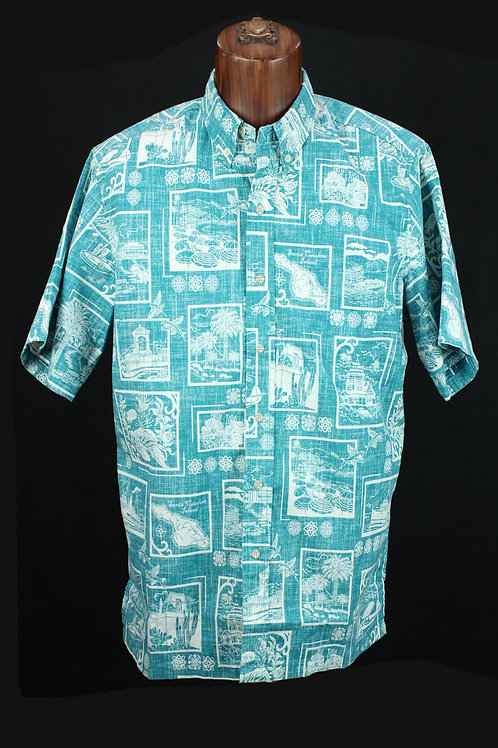 Reyn Spooner Teal  Catalina Shirt, Spooner Cloth, Reg fit.