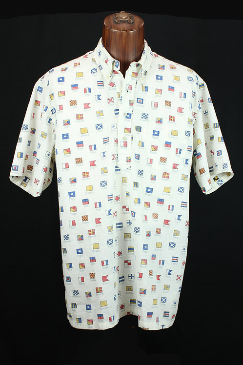 Reyn Spooner Maritime Flags Hawaiian Shirt, Spooner Cloth, Regular Fit.