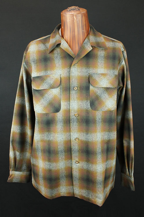 Pendleton Men's Plaid Board Shirt Tan/Grey/Gold Ombre Plaid