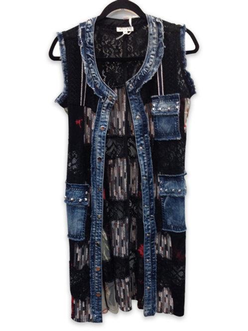 Adore Long Blue Black Vest