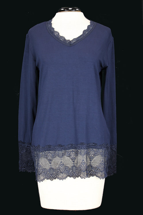 Charlie B Long Sleeve Lace Top Navy Blue.