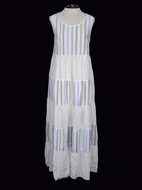 Charlie B Maxi Multi-striped Dress Blue,Cotton Blend.