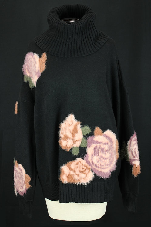 Charlie B Black Sweater with Roses