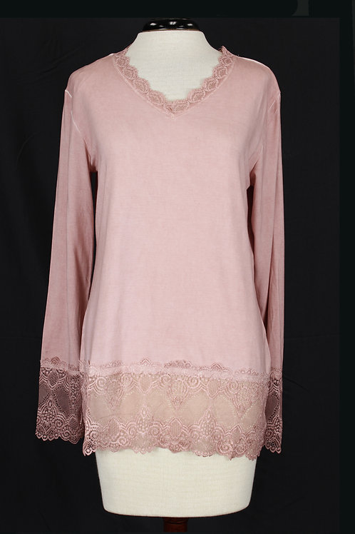 Charlie B Long Sleeve Lace Top-Pink