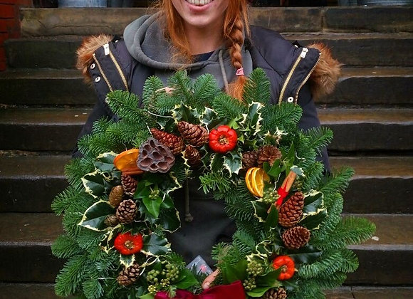 Super Luxury Large Christmas wreath (holly +ivy)