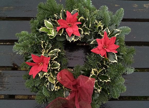 Christmas wreath (holly+poinsettia)