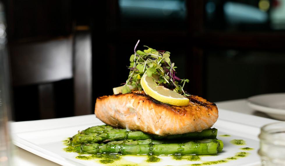 Seared Salmon, Asparagus Batons, Pesto