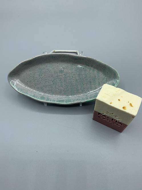 Grey Ceramic Soap Dish w/ Organic Pacha Soap