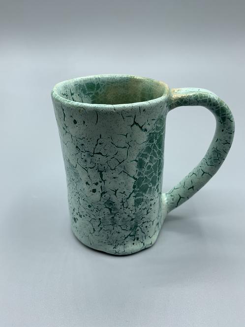 Green Cracked Coffee Mug
