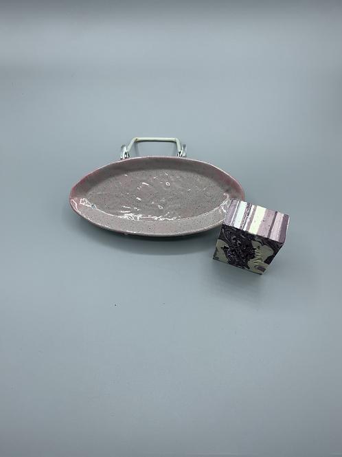 Grey/Pink Ceramic SoapDish w/ Pacha Soap