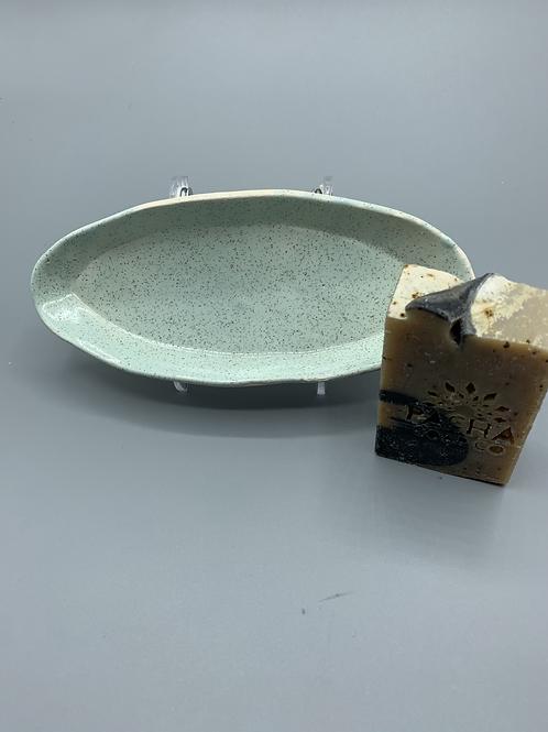 Moss Ceramic Soap Dish w/ Pacha soap