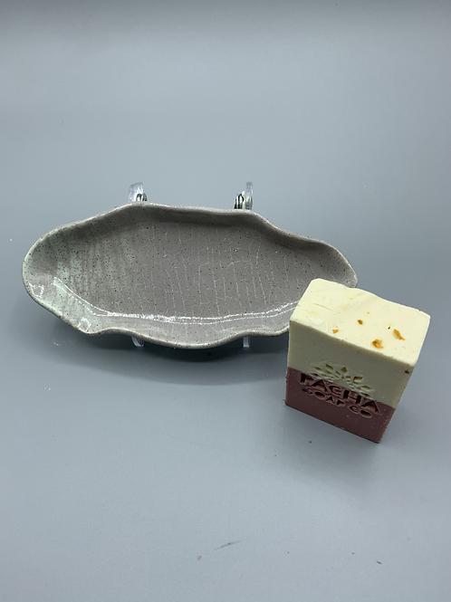 Grey/Moss Ceramic Soap Dish w/ Pacha Soap