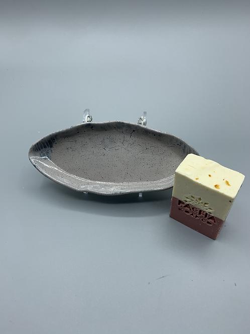 Grey/ Blue Ceramic Soap Dish w/ Organic Pacha Soap