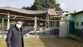Inicia reforma do telhado na cancha de bocha da Abim