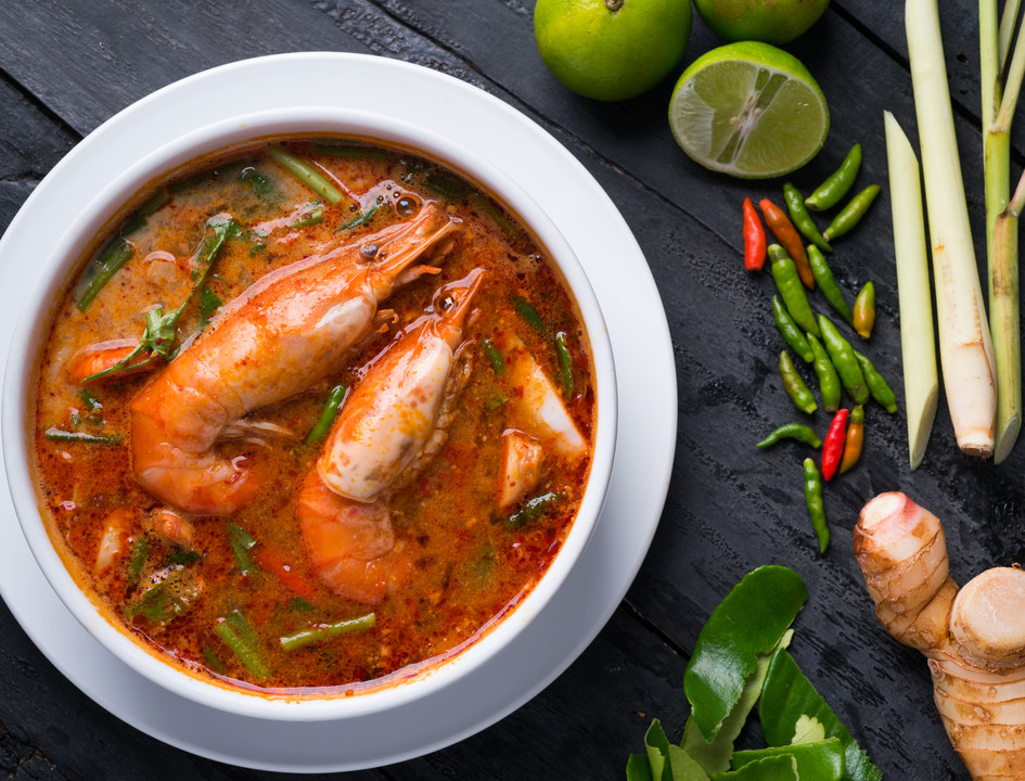 Spicy and sour prawn with young coconut