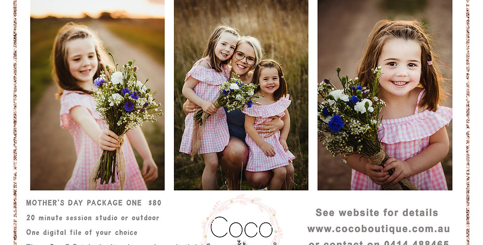 """MOTHER""""S DAY PACKAGE 1 - FAMILY PHOTO SESSION GIFT VOUCHER AND PRINT"""