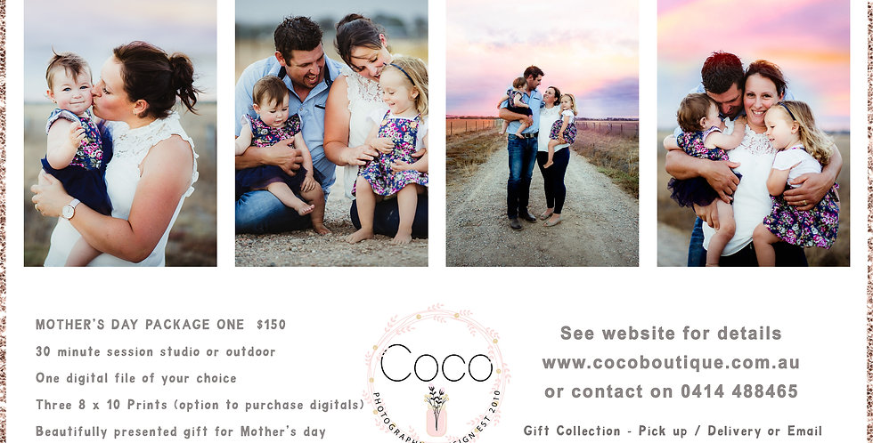 """MOTHER""""S DAY PACKAGE 2 - FAMILY PHOTO SESSION GIFT VOUCHER AND PRINT"""