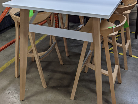 Groupe Lacasse Stad Community Table and Herman Miller She Said Stools